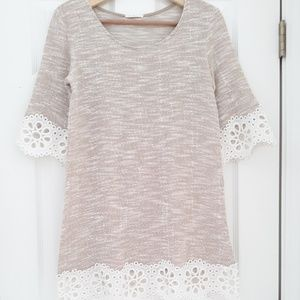 Lime & Chili Beige Tunic with Lace Trim Small